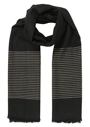 likemary Mens Merino Wool Blanket Scarf Oversize Muffler & Travel Wrap Handwoven in Twill with Stripes 100 x 200cm Black