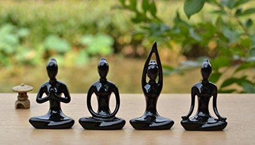 Black Ceramic Figurine (Lot Of 4 Meditation Yoga Pose Statue Figurine Ceramic Yoga Figure Set Decor (Black Set))