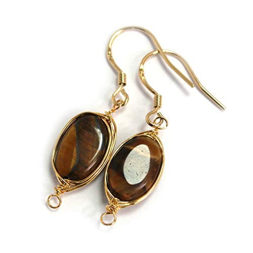 Tigers Eye White Earrings - Scutum Craft Natural Stone Dangle Drop Earrings with Gold Plated Wire Wrap and 925 Sterling Silver Hook Jewelry for Women (Tiger Eye Oval Round 12mm)