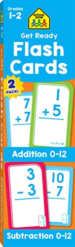 School Zone - Get Ready Flash Cards Addition & Subtraction 2 Pack - Ages 6 to 7, 1st Grade, 2nd Grade, Addition, Subtraction, Early Math, Problem-Solving, and More (First Grade Addition Flash Cards)