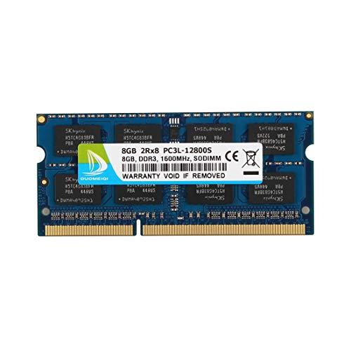 Non Ecc Unbuffered Memory Module - DUOMEIQI 8GB DDR3L 1600MHz SODIMM PC3L-12800 PC3L-12800S 2Rx8 1.35V / 1.5V CL11 204 Pin Non ECC Unbuffered Laptop Notebook Computer Memory Ram Module Upgrade for Mac, Intel and AMD System