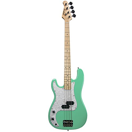Sawtooth ST-PB-LH-SGRP-KIT-1 EP Series Left-Handed Electric Bass Guitar with Gig Bag & Accessories, Surf Green - Left-Handed with White Pearloid Pickguard -