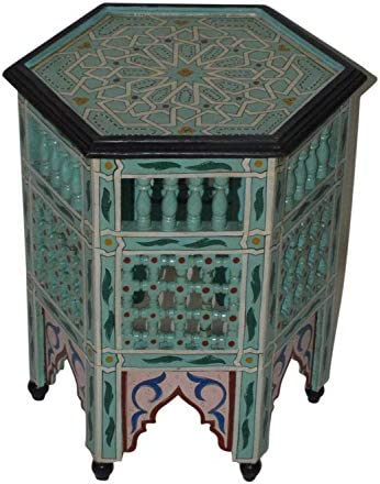 Moroccan Handmade Wood Table Side Moucharabi Delicate Hand Painted Light Blue