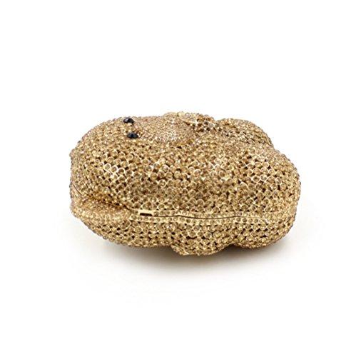 fête cadre mariage métallique sac Favorite Ours Pochette Mesdames à luxe de sac de gold Petit strass soirée de main 7a6qw6xf