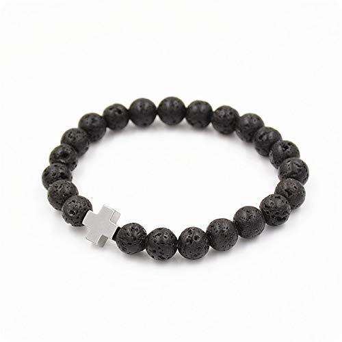 Amazon.com: 8mm Natural Black Lava Stone Beaded Bracelet Men ...