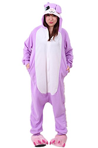 Purple Bunny Polar Fleece One Piece Adult Pajamas Cosplay Costume (Cheap Bunny Costumes)