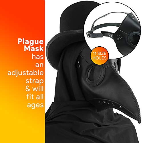 Skeleteen Medieval Doctor Plague Mask - Black Faux Leather Bird Death Doctors Mask Costume Accessory