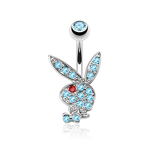 """Pierce2GO Playboy 14G 316L Surgical Steel Belly Button Ring Mixed Colors 3/8"""" Barbell (Silver with Aqua Stones)"""