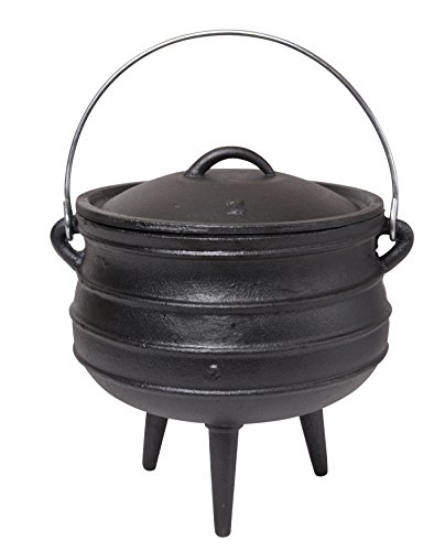 JMiles Cast Iron Potje for Outdoor Fireplace Setting - Pre Seasoned Non Stick Heavy Duty Pot Cauldron Cookware with Lid and Handle for Camping & Open Fire Cooking (8.25 Quart)