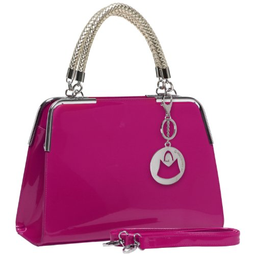 MG Collection Matana Faux Patent Leather Doctor Tote Purse, Pink, One Size