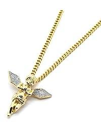 "Lingduan Men 14k Gold Plated Si Stardust Long Wings Angel Pendant Hip-Hop 30"" Cuban Chain"