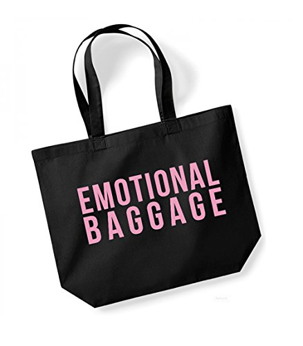 Canvas pink Tote Black Large Fun Emotional Bag Baggage Slogan ZqpEZ8w