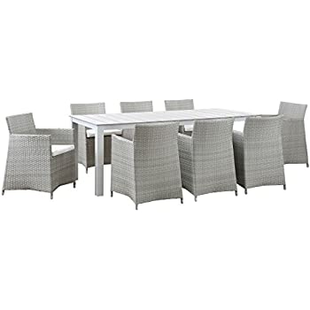 Modway Junction 9 Piece Outdoor Patio Dining Set, Gray/White