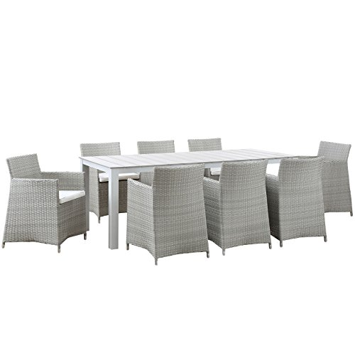 Modway Junction 9 Piece Outdoor Patio Dining Set, Gray/White (Dining 9 Piece Set White)