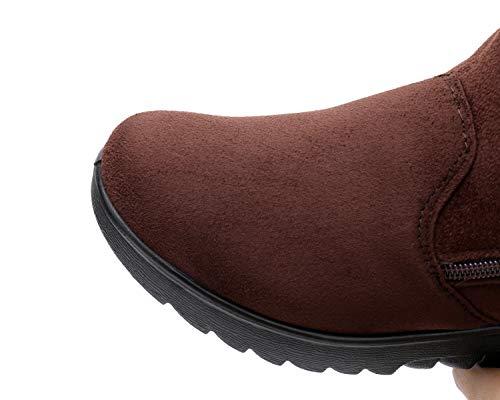 Hiver Bottines Plates H Chaude mastery Neige Chaussures Marron De Femmes Boots Fourrees Bottes Cuir zTETPq