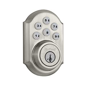 11. Kwikset 909 SmartCode Electronic Deadbolt featuring SmartKey in Satin Nickel