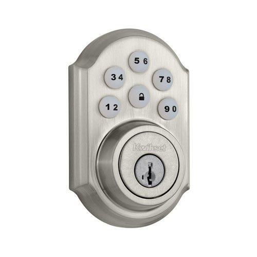 Kwikset 909 SmartCode Electronic Deadbolt featuring SmartKey in Satin - Trim Open 4
