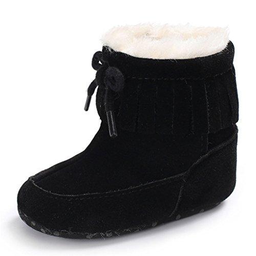 Vovotrade Nette bunte Baby weiche Sole Schnee Aufladungen weiche Krippe Schuhe (Size:12~18 Month, Hot Pink) Schwarz