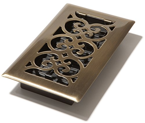 Decor Grates SPH408-A 4-Inch by 8-Inch Scroll Floor Register, Antique Brass