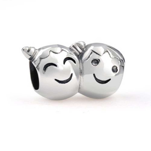 Bling Jewelry Pigtailed Brother and Sister Smiling Face Charm Bead .925 Sterling Silver