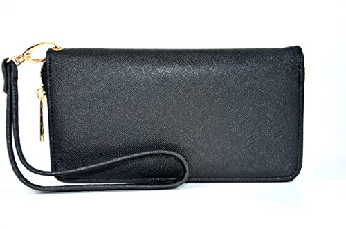 Womens Saffiano Leather Wristlet Organizer