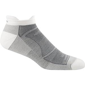 Darn Tough Men's Merino Wool No-Show Ultra-Light Cushion Athletic Socks, White/Gray, Large