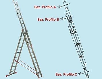 Escaleras Escalera Extensible Promo Step de triple aluminio 5,29 MT. Norma En 131: Amazon.es: Bricolaje y herramientas
