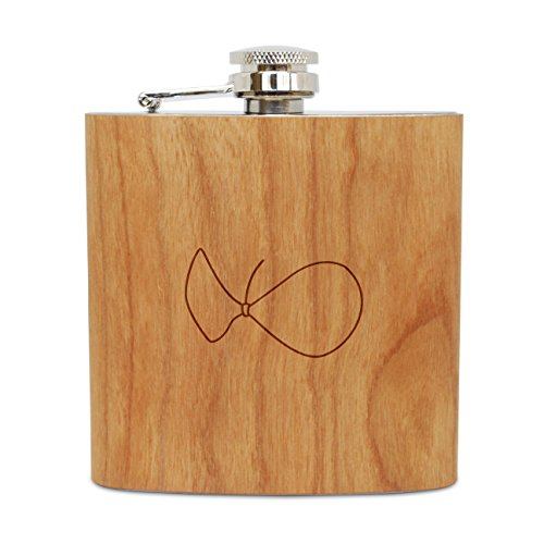 (WOODEN ACCESSORIES COMPANY Cherry Wood Flask With Stainless Steel Body - Laser Engraved Flask With Strapless Bra Design - 6 Oz Wood Hip Flask Handmade In USA )