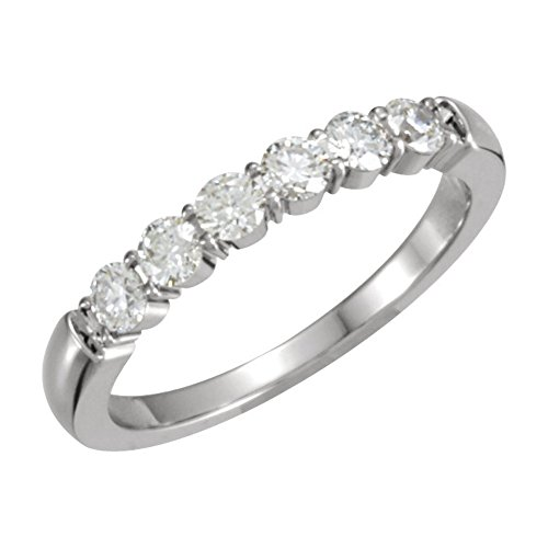 0.60 ct Ladies Round Cut Diamond Wedding Band Ring in 14 kt White Gold