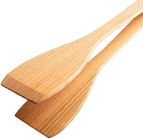 Uulki Ensemble Pince Cuisine: pince Grill bbq et pince spatule Barbecue à Servir - en bois Cerisier 30 cm longue – Écologique et fabriqué en Europe