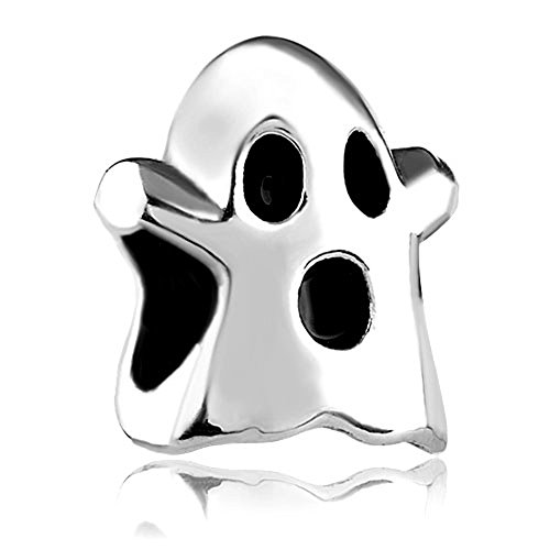 Silver Plated Halloween Ghost Bead Fits Charm - Ghost Bead