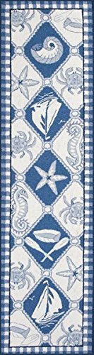 Kas 1807 Colonial 2-Feet by 8-Feet Blue/Ivory Nautical Panel Runner Rugs