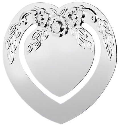 Pretty, silver bookmark. Heart shaped with floral design. Silver-plate. Perfect for Valentine's Day and Mother's Day Design Silverplate