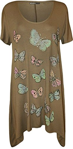 Womens Beaded Butterfly Print Stretch Tunic Hanky Hem T-Shirt Top Plus Size-Mocha-14 Beaded Print Tunic