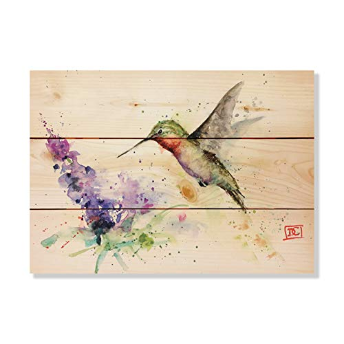 Solid Wood Wall Art - Crouser's Hummer & Butterfly Bush - 15x11