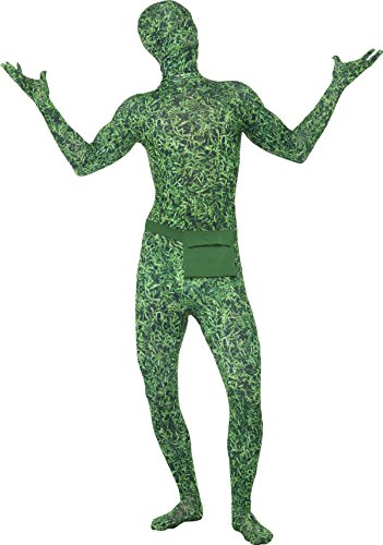 Smiffy's Adult Unisex Grass Pattern Second Skin Costume, Bum bag, Concealed Fly and Under Chin Opening, Second Skin, Serious Fun, Size L, 22490