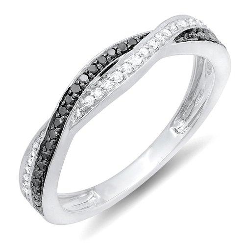 Dazzlingrock Collection 0.25 Carat (ctw) 10K Round Black & White Diamond Wedding Band Ring 1/4 CT, White Gold, Size 10
