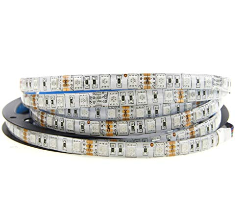 (Alarmpore 16.4FT 12V SMD 5050 RGB LED Strip Lights Tape, Multi-Colors, 300 LEDs, Waterproof Flexible Rope Light)