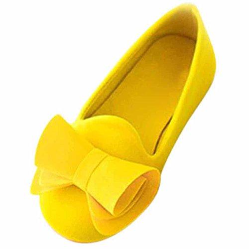 hibote Mode Prinzessin Schlüpfen Schuhe Mädchen Süßigkeiten Farbe Schuhe Mädchen Sandalen Kids Schuhe Sommer Flock Kinder Schuhe Mädchen Wohnungen Gelb