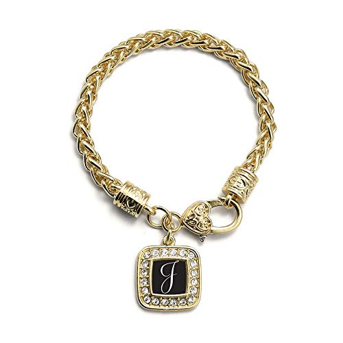 Inspired Silver - My Script Initials - Letter J Braided Bracelet for Women - Gold Square Charm Bracelet with Cubic Zirconia - Charm Gold Square