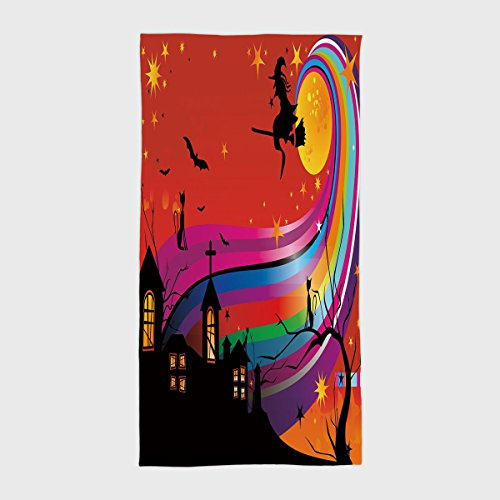 Cotton Microfiber Hotel SPA Beach Pool Bath Hand Towel,Halloween,Witch Woman on Broomstick Bats Cat Stars Rainbow Moon Castle Abstract Colorful Decorative,Multicolor,for Kids, Teens, and Adults ()
