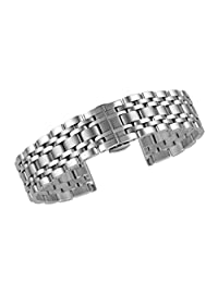 20mm Deluxe Metal Link Wrist Watch Bracelets in Silver Solid Stainless Steel Folded Clasp Straight End