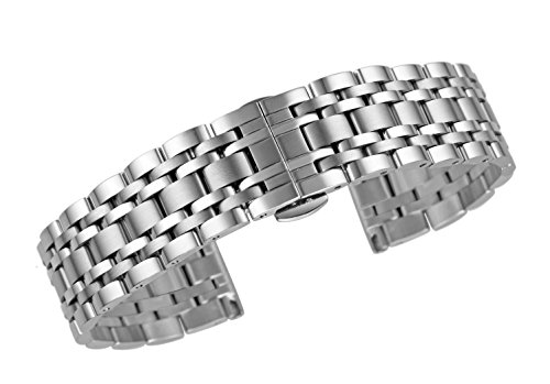 22mm Premium Men's Wrist Watch Band Bracelet Durable 316L Solid Stainless Steel in Silver Straight End