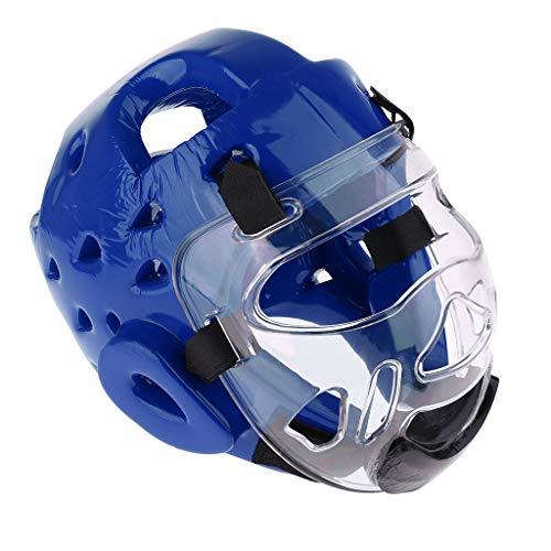 SM SunniMix Professional PU Kids Adults Boxing Helmet - Foam Pad Head Guard Protector - for Martial Art, Kickboxing, Karate, Taekwondo, MMA, Muay Thai - Blue L