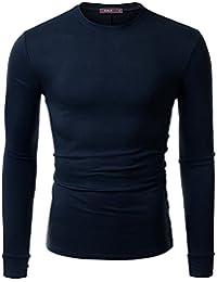 Doublju Mens Long Sleeve Half Turtle Neck Split Hem T-shirt