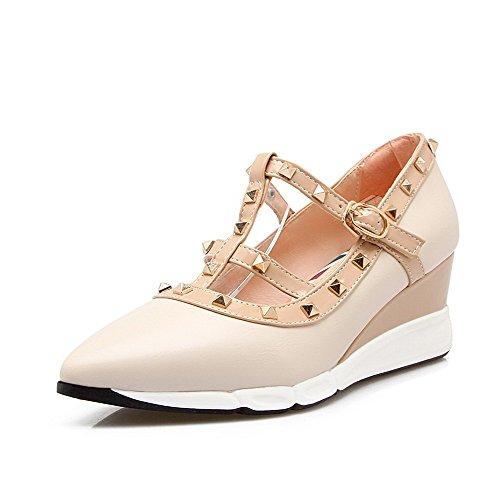 AgooLar Damen Gemischte Farbe PU Mittler Absatz Ziehen auf Spitz Zehe Stiefel, Cremefarben, 37
