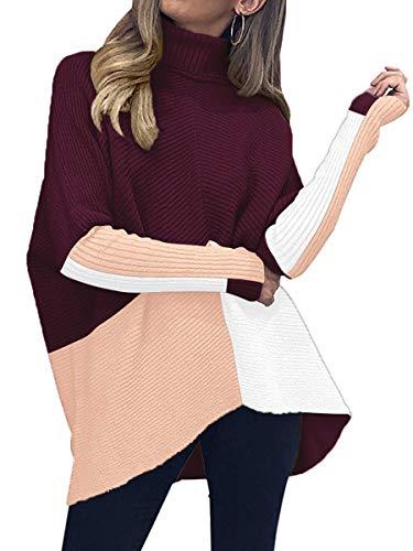 Caracilia Womens Turtleneck Long Sleeve Sweater Irregular Hem Casual Pullover Knit Tops