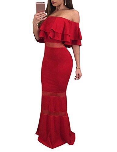 Party Festival robe jupe cadeau longue Bodycon volante robe pour Rouge Les sirne Club paule de hors femmes n7RWBR