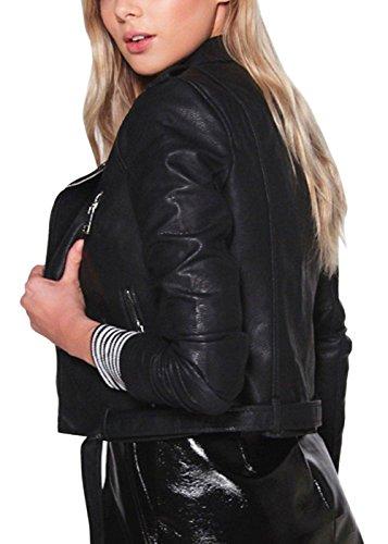 Courte Femme Classique De Slim Veste Revers Col Moto en Fit Cuir Biker Veste Noir qSqFY