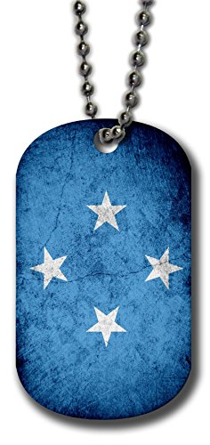 Aluminum Dog Tag Necklace and Key Ring - Flag of Micronesia (Micronesian) - Rustic